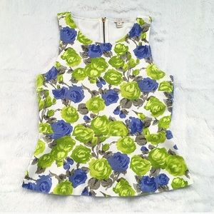 J. Crew Green and White Floral Peplum Top